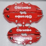 Set of 4 3D Red Brembo Style Rear&Font Universal Brake Caliper Cover for Mazda VW Benz Audi BMW