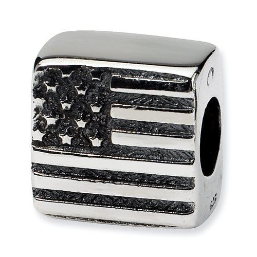 .925 Sterling Silver Flag Bead