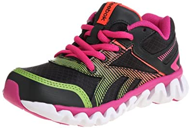 Reebok Ziglite Electrify Running Shoe (Little Kid/Big Kid),Gravel/White/Pink/Green,12 M US Little Kid