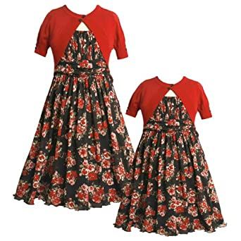 Size-6X,BNJ-7059B 2-Piece RED BLACK MULTI FLORAL PRINT MESH OVERLAY Special Occasion Flower Girl Holiday Party Dress/Sweater Set,B37059 Bonnie Jean LITTLE GIRLS