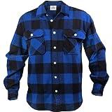 Rothco Men's Extra Heavyweight Buffalo Plaid Flannel Shirt, Black/Blue, Large