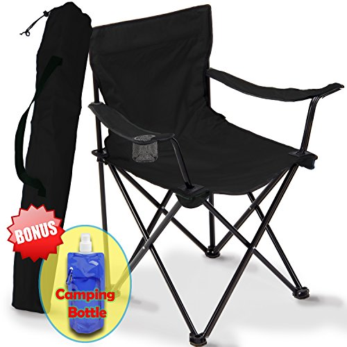 Folding Camping Chair, Portable Carry Bag for Storage and Travel, Best Durable Outdoor Quad Beach Chairs, Comfortable Arms, Space Saving, Lightweight Great for Transport, Sports, Fishing and Hiking (black)