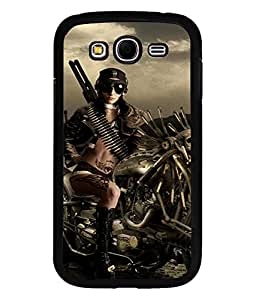 Printvisa Premium Designer Semi Metallic SKULL BIKE HARD LADY Back Case Cover for Samsung Galaxy Grand I9082 - D7219