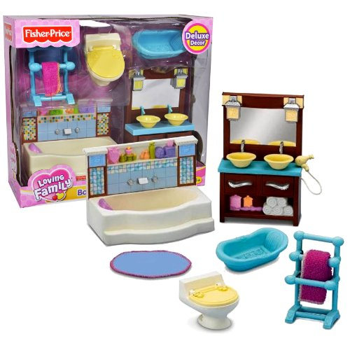 Fisher Price Year 2010 Loving Family Dollhouse Deluxe Decor Furniture - BATHROOM with Bathtub, Towel Rack with Towel, Toilet Bowl, Baby Bathtub, Vanity Drawer Cabinet with Double Sink and Rug (Dollhouse Sold Separately)