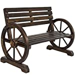 Best Choice Products Patio Garden Wooden Wagon Wheel Bench Rustic Wood Design Outdoor Furniture