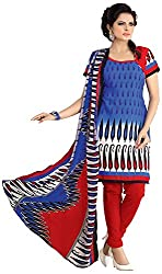AAINA Women's Polyester Cotton Unstitched Dress Material (Blue)