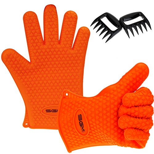 Cheapest Price! BBQ Gloves, SGM (TM) Heat Resistant Silicone BBQ Gloves Set for Cooking, Baking, Smo...