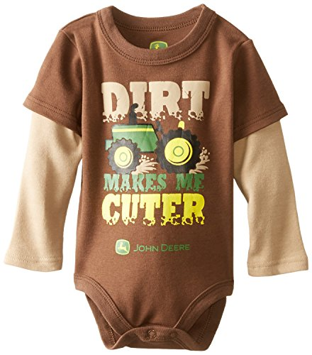 John Deere Baby-Boys Newborn Dirt Makes Me Cuter Bodyshirt, Brown/Khaki, 6-9 Months