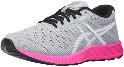 ASICS Women's Fuzex Lyte Running Shoe, Mid Grey/White/Pink Glow, 8.5 M US