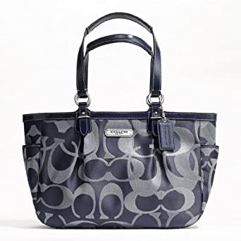 Women Totes Coach Hand Bag Gallery Optic Metallic Signature Tote Shoulder Bag