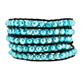 Womens Long Beaded Dyed Freshwater Cultured Pearl Wrap Around Leather Bracelet (Sky Blue)