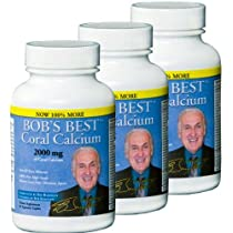 Bob's Best Coral Calcium 2000mg, 3 PACK of 90 Caplets NEW IMPROVED FORMULATION!