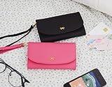 シンプル 携帯 スマホ iPhone ケース カバー ポーチ カード 入れ ポケット ボタン ストラップ im.ONE (ピンク)