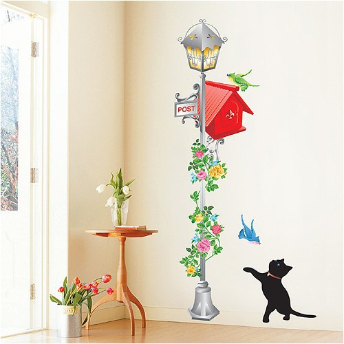 Easy Instant Decoration Wall Sticker Decal – Kittens/Birds with Vintage Lamp/Mailbox