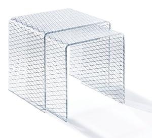 ads 2008 gigognes table basse plexiglas acrylique motif diamant blanc noir cuisine. Black Bedroom Furniture Sets. Home Design Ideas