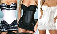 Satin Corset Set With Skirt&thong Lingerie Night Wear Gift 8 10 12 14 16