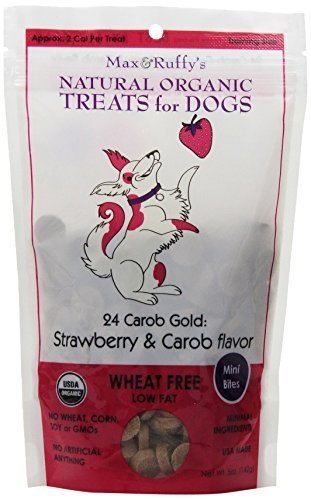 max-ruffys-24-carob-gold-5-ounce-organic-wheat-free-dog-treats-mini-bites-strawberry-and-carob-flavo