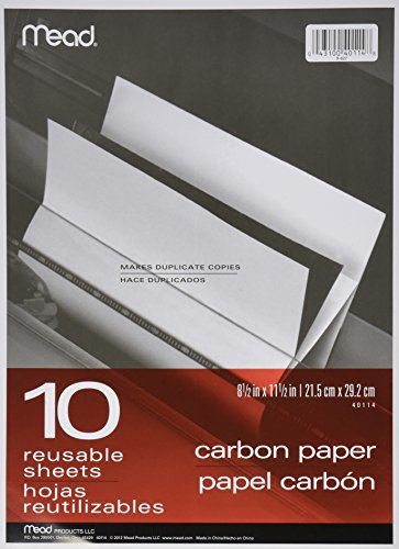 ** Black Carbon Mill Finish Paper, 8-1/2 x 11, 10 Sheets/Pac