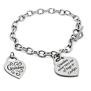 Stainless Steel Grandma Heart Tag Bracelet 7.5 Inches