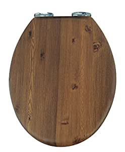 hochwertiger sch ner wc sitz deckel toilettensitz landhaus style klodeckel in holzoptik mit. Black Bedroom Furniture Sets. Home Design Ideas