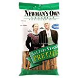 Newman's Own Organics Pretzels, Salted Sticks, 8-Ounce Bags (Pack of 12) ~ Newman's Own