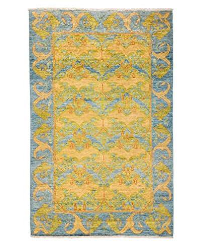 Darya Rugs Arts & Crafts Handmade Rug, Light Blue, 5' x 8'