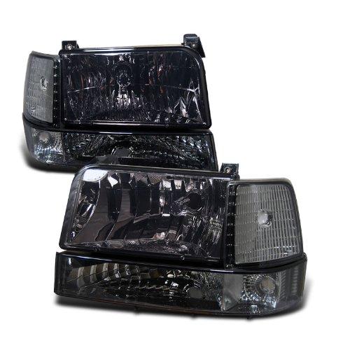 Amazon.com: Eautolights 92-96 Ford F150 F-150 Bronco Smoked Headlights