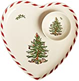 Spode Christmas Tree Peppermint Heart Shaped 2-Piece Dip Set