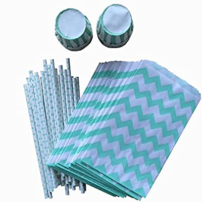 Mint Green Chevron Treat Favor Sacks Mint Polka Dot Straws Mint Striped Candy/Nut Cups Mint Party Goods Combo Wedding, Baby Shower, Birthday Party Supplies 24 Pack
