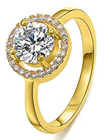 buy Beydodo Gold Plated Women Rings (Engagement Rings) Round Cubic Zirconia Yellow Round Shape Size 6