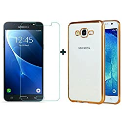 ACCESSORY COMBO (SAMSUNG GALAXY ON7) ELECTROPLATED TRANSPARENT GOLD BACK COVER AND ULTRA CLEAR TEMPERED GLASS