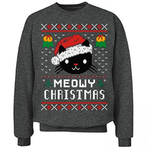 Meowy Christmas Cat Ugly: Unisex Hanes Ultimate Crewneck Sweatshirt L Charcoal Heather