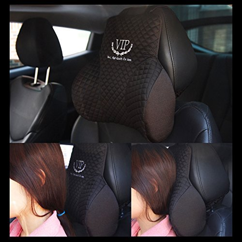 VIP Luxury Black Memoryform Cushions Car Seat Head Neck Rest Cushion Headrest Pillow Pad for Car Motors Auto Vehicle(1pack) (Auto Headrest Pillow compare prices)