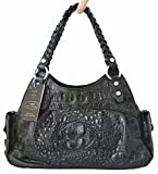 Authentic M Crocodile Skin Womens Hornback Leather Bag Tote Hobo Weave W/2 Slots Handbag