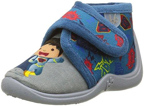 BabybotteManitou - Pantofole alte foderate calde Bambino , Blu (Bleu (724 Bleu/Gris/Super-Héros)), 26