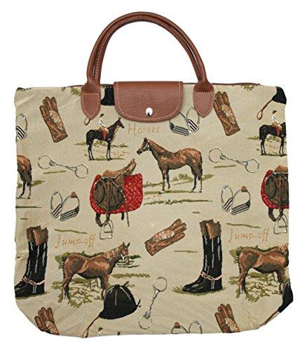 Borsa donna Signare in tessuto stile arazzo Pieghevoli Shopping alla moda Cavallo