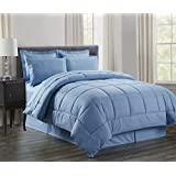 Sweet Home Collection 8 Piece Bed In A Bag With Vine Comforter, Sheet Set, Bed Skirt And Sham Set, Slate Blue,...
