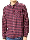 (アーケード) ARCADE 秋 無地 チェック ネルシャツ メンズ 選べる 無地 チェックシャツ ネルチェックシャツ M ワイン×ネイビー(8)