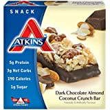 Atkins Advantage Dark Chocolate Almond Coconut Crunch Light Meal Bar,1.4 oz. Bars, 5 Count