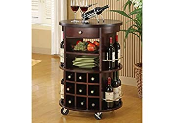 CAPPUCCINO ROUND BAR SERVING CART WITH WINE STORAGE (SIZE: 24L X 22W X 35H)