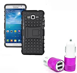 Aart Hard Dual Tough Military Grade Defender Series Bumper back case with Flip Kick Stand for Samsung G530 + Car Charger With 2 Fast Charging USB Ports by Aart Store.