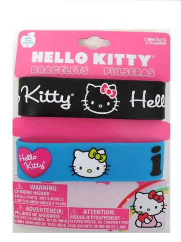 Hello Kitty Bracelets- Rubber Wristbands Black and Blue Pack - 1