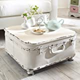 """Coffee Table Side Table """"Suitcase"""", with Storage, Shabby Chic, Metal, White"""