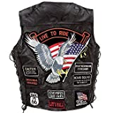 Eagle Live to Ride Patches Buffalo Leather Vest