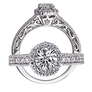 1 Carat VS-1 Clarity F Color 14k White Gold Natural Round Brilliant Cut Diamond Engagement Ring Vintage Style from ATR Jewelry