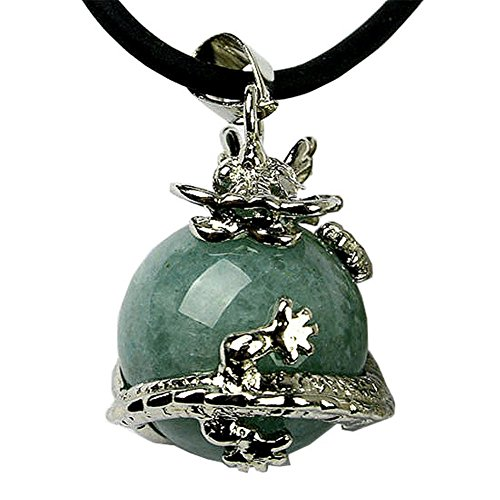 "Jovivi Dragon Ball Wrapped Round Gemstone Pendant Necklace Gift 19""L (Natural Green Aventurine)"