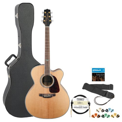 Takamine Gj72Ce-Nat Jumbo Cutaway 6-String Acoustic Electric Guitar W/ Strap, Cable, Strings, Picks & Hard Case