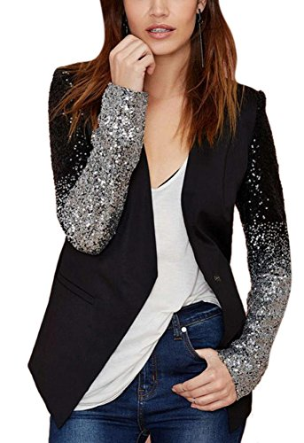 Long Sleeve Sequin Leather Blazer