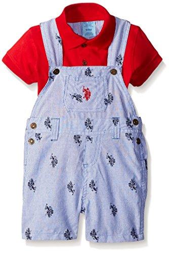 U.S. Polo Assn. Baby Boys' Logo Fabric Shortall and Polo Shirt Creeper