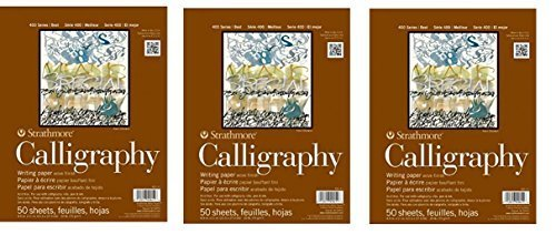 Strathmore 400 Series Tape Bound Calligraphy Pad 8 1/2 x 11 Inches Sheets, Pad of 50 (ST405-11), 3 Pads (Tamaño: 8.5-x-11-Inch)